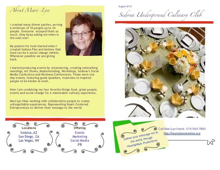 """August 2012Ab!t Ma""""-Lyn                                                                      Sedona Undergr!nd Culinary Cl..."""