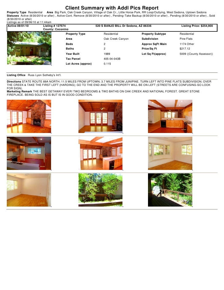 Sedona Weekly Real Estate Transaction Report 2010-09-06