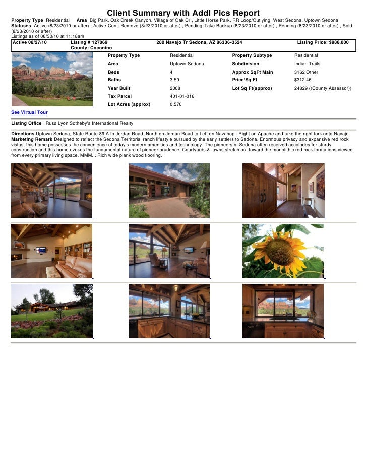 Sedona Weekly Real Estate Transaction Report 2010 08-30-1118