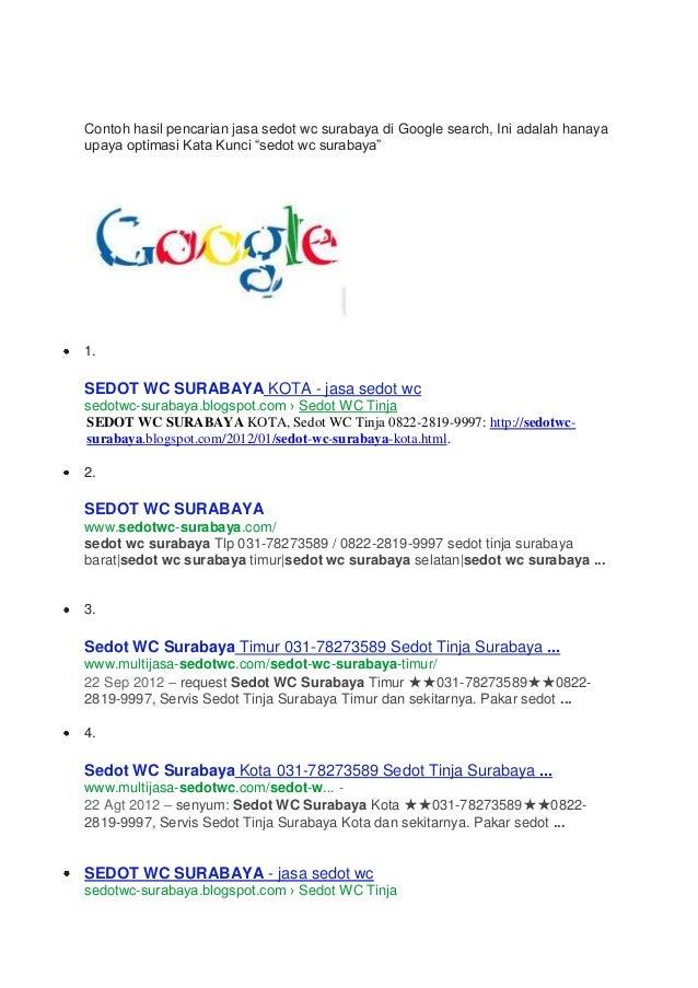 Sedot wc surabaya hasil pencarian di google