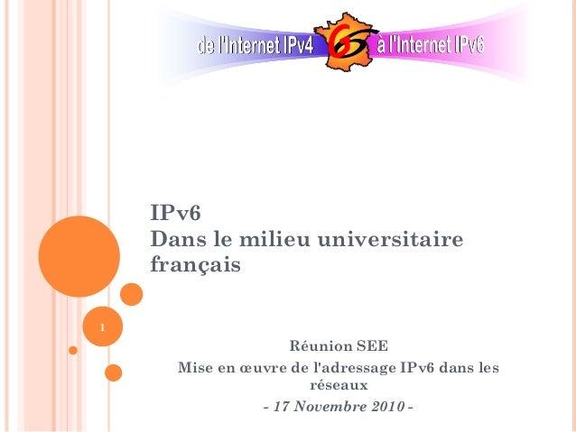 IPv6 Dans le milieu universitaire français Réunion SEE Mise en œuvre de l'adressage IPv6 dans les réseaux - 17 Novembre 20...