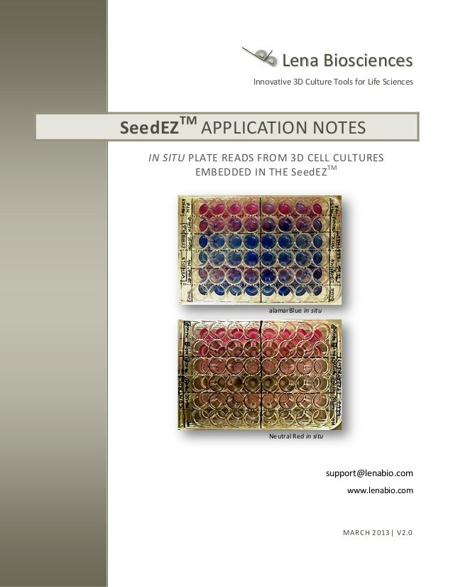 SeedEZ 3D cell culture application notes - microplate reads