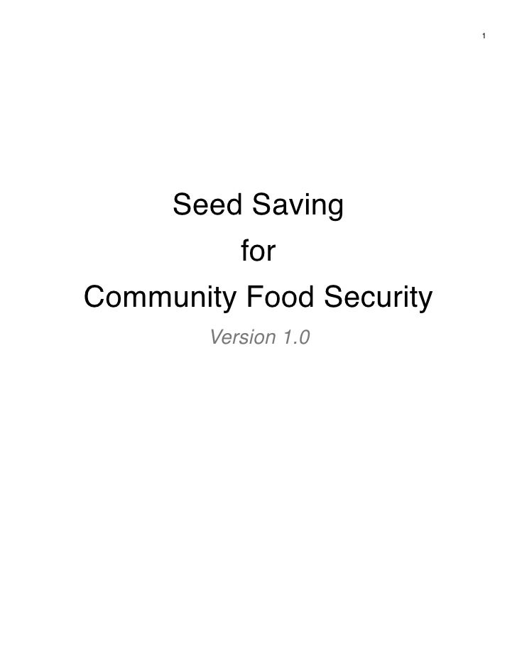 1     Seed Saving           forCommunity Food Security        Version 1.0