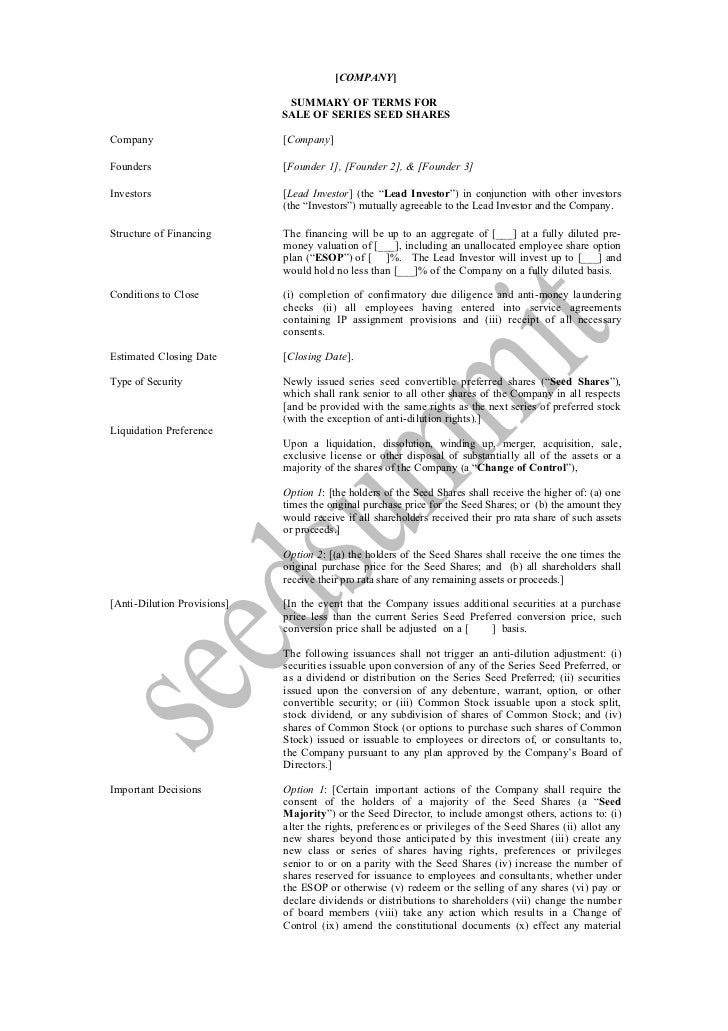 [COMPANY]                              SUMMARY OF TERMS FOR                             SALE OF SERIES SEED SHARESCompany ...