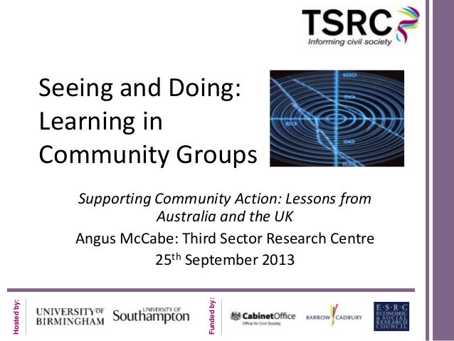 Seeing and Doing: Learning in Community Groups  Funded by:  Hosted by:  Supporting Community Action: Lessons from Australi...