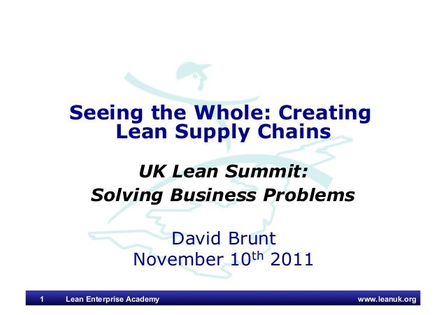 www.leanuk.org David Brunt November 10th 2011 Seeing the Whole: Creating Lean Supply Chains UK Lean Summit: Solving Busine...