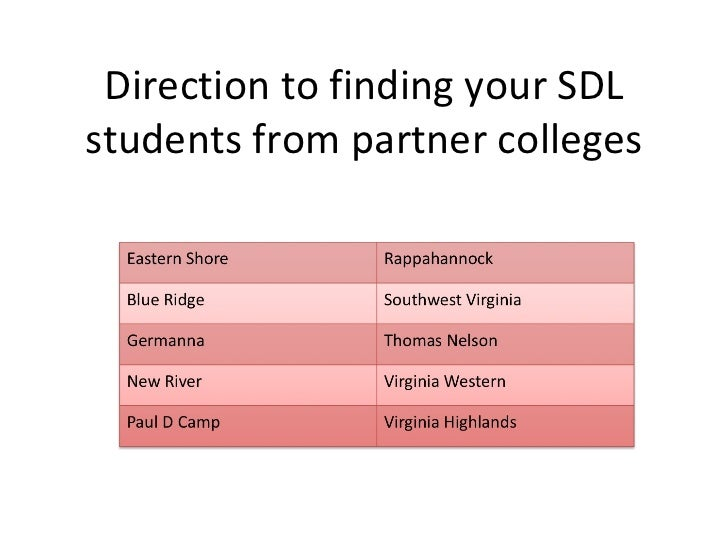 Direction to finding your SDL students from partner colleges