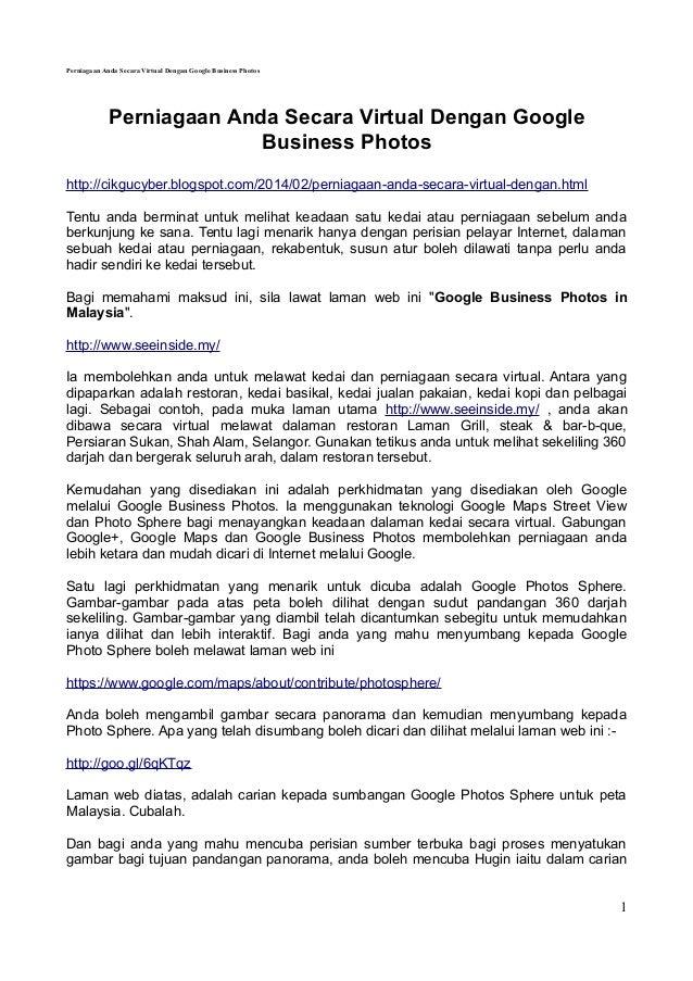 Perniagaan Anda Secara Virtual Dengan Google Business Photos