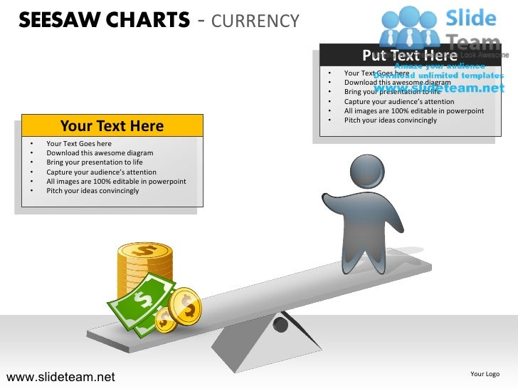 Seesaw charts comparision money currency powerpoint ppt slides.
