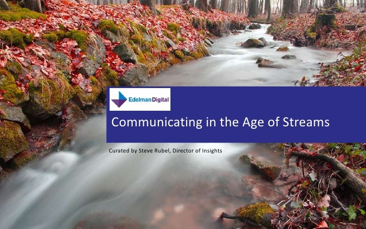 Communicating in the Age of Streams<br />SOCIAL MEDIA PRESENTATION<br />Curated by Steve Rubel, Director of Insights<br />