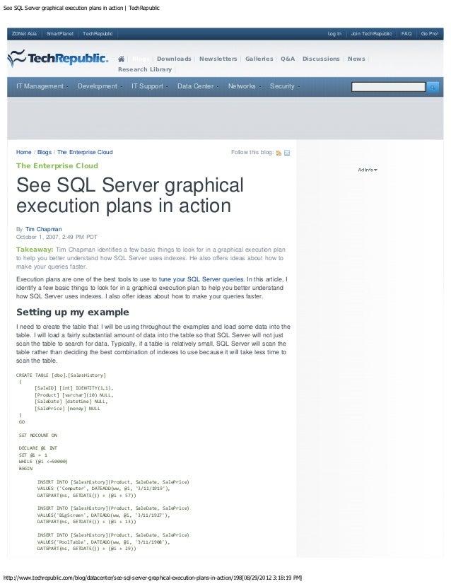 See SQL Server graphical execution plans in action | TechRepublic   ZDNet Asia      SmartPlanet    TechRepublic           ...