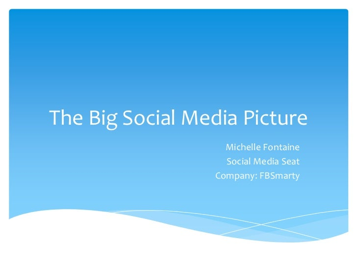 The Big Social Media Picture<br />Michelle Fontaine<br />Social Media Seat<br />Company: FBSmarty<br />