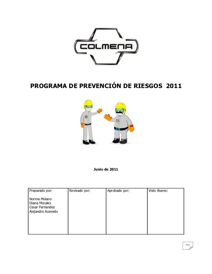 PROGRAMA DE PREVENCIÓN DE RIESGOS 2011                                    Junio de 2011Preparado por:      Revisado por:  ...