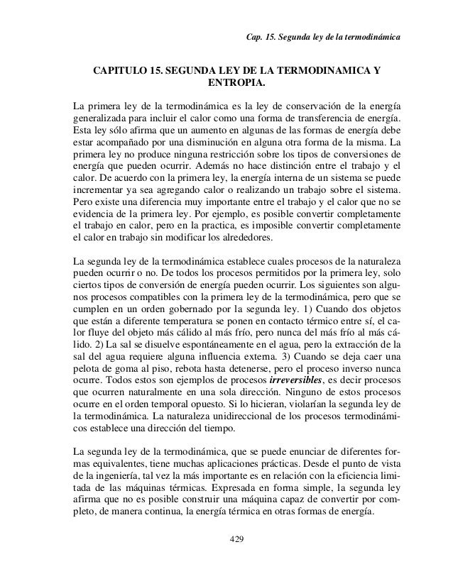 Cap. 15. Segunda ley de la termodinámica    CAPITULO 15. SEGUNDA LEY DE LA TERMODINAMICA Y                       ENTROPIA....