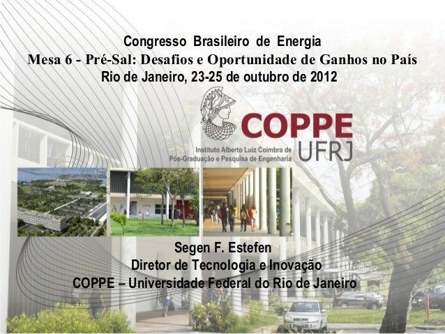 Congresso Brasileiro de EnergiaMesa 6 - Pré-Sal: Desafios e Oportunidade de Ganhos no País           Rio de Janeiro, 23-25...