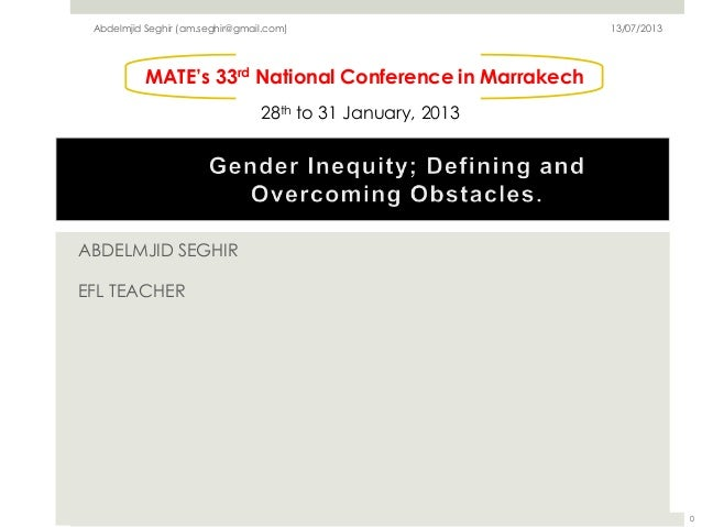 ABDELMJID SEGHIR EFL TEACHER MATE's 33rd National Conference in Marrakech 28th to 31 January, 2013 Abdelmjid Seghir (am.se...