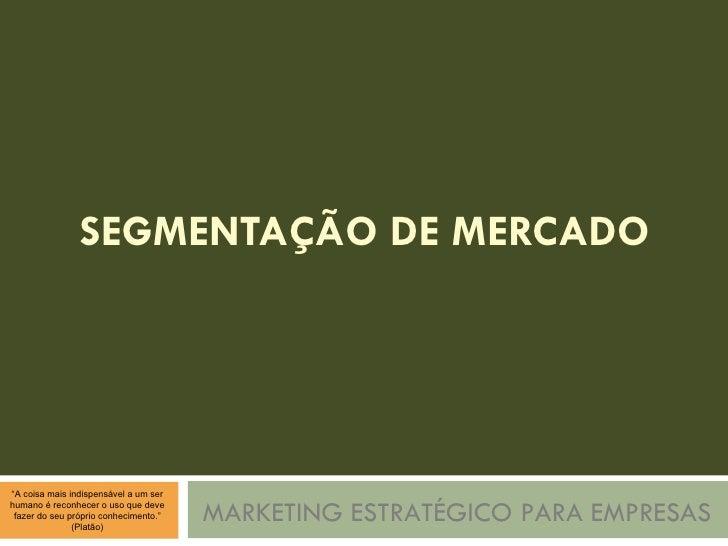 SEGMENTAÇÃO DE MERCADO MARKETING ESTRATÉGICO PARA EMPRESAS