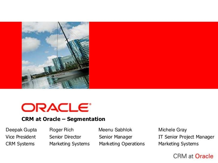 CRM at Oracle – Segmentation<br />Deepak GuptaRoger Rich    Meenu SabhlokMichele Gray<br />Vice PresidentSenior Direc...