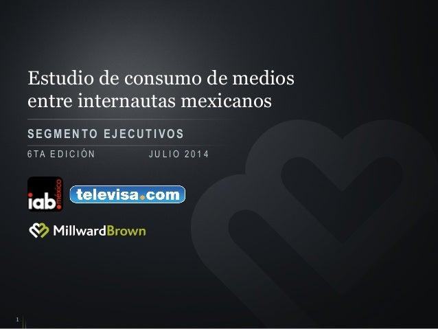 Estudio de consumo de medios entre internautas mexicanos SEGMENTO EJECUTIVOS 1 6 TA E D I C I Ó N J U L I O 2 0 1 4