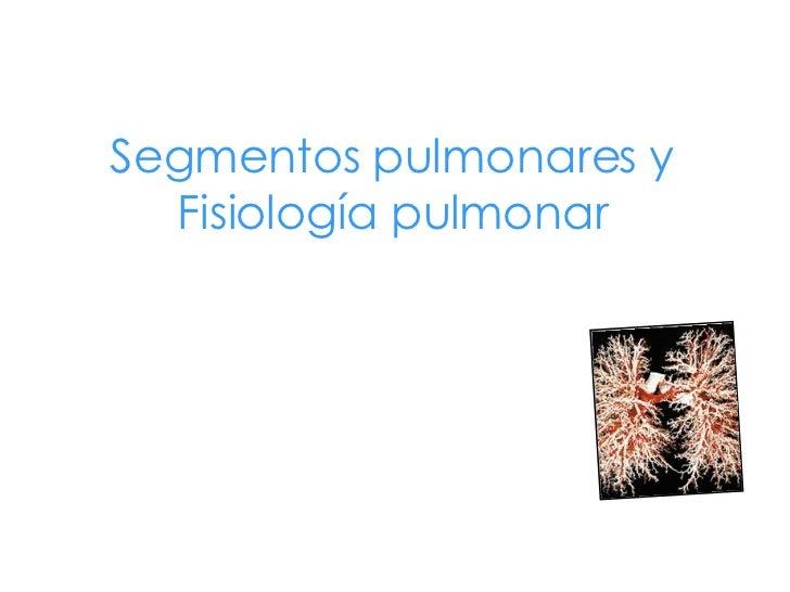 Segmentos pulmonares y Fisiología pulmonar