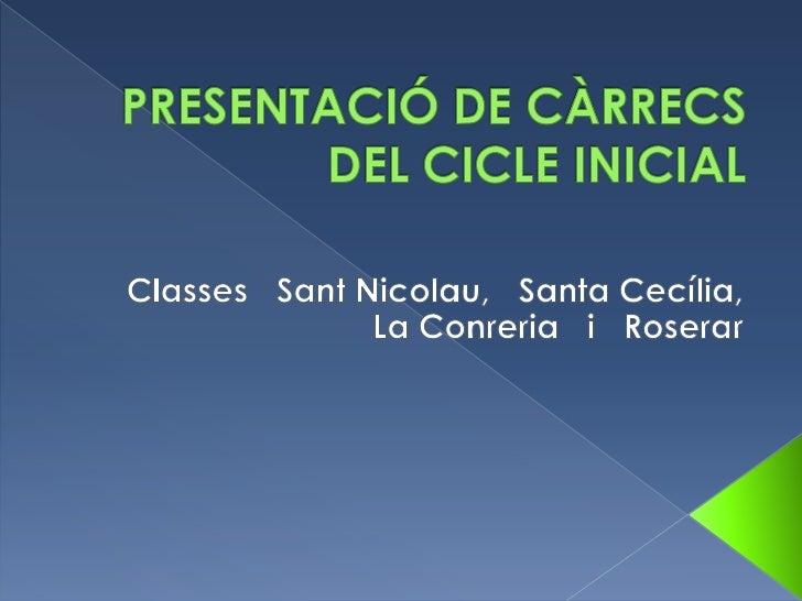 Segona presentació de càrrecs al cicle inicial