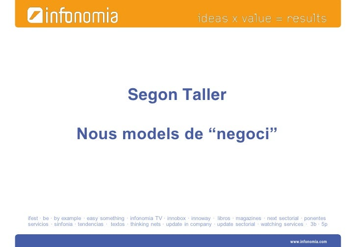 "Segon Taller                    Nous models de ""negoci""ifest · be · by example · easy something · infonomia TV · innobox ·..."
