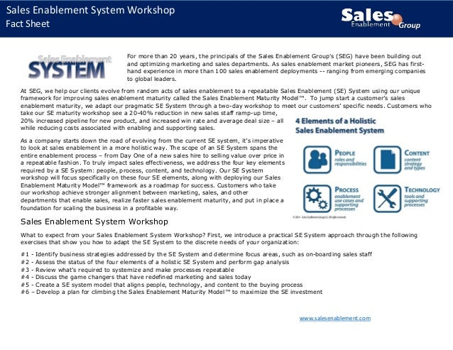SEG Sales Enablement System and Workshop Fact Sheet