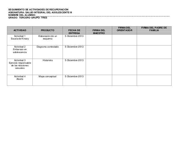 SEGUIMIENTO DE ACTIVIDADES DE RECUPERACIÓN ASIGNATURA: SALUD INTEGRAL DEL ADOLESCENTE III NOMBRE DEL ALUMNO:______________...
