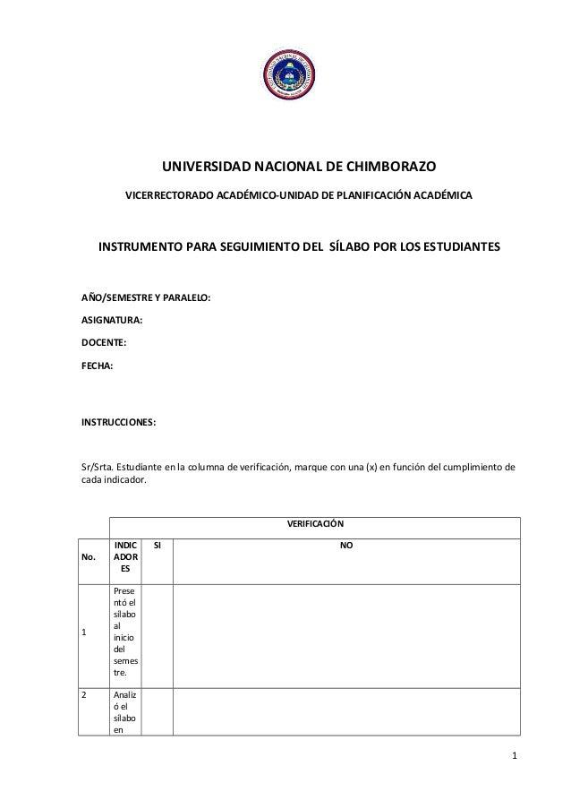 UNIVERSIDAD NACIONAL DE CHIMBORAZO VICERRECTORADO ACADÉMICO-UNIDAD DE PLANIFICACIÓN ACADÉMICA INSTRUMENTO PARA SEGUIMIENTO...