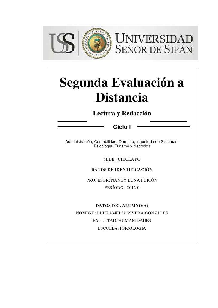 Segunda Evaluación a     Distancia               Lectura y Redacción                          Ciclo IAdministración, Conta...