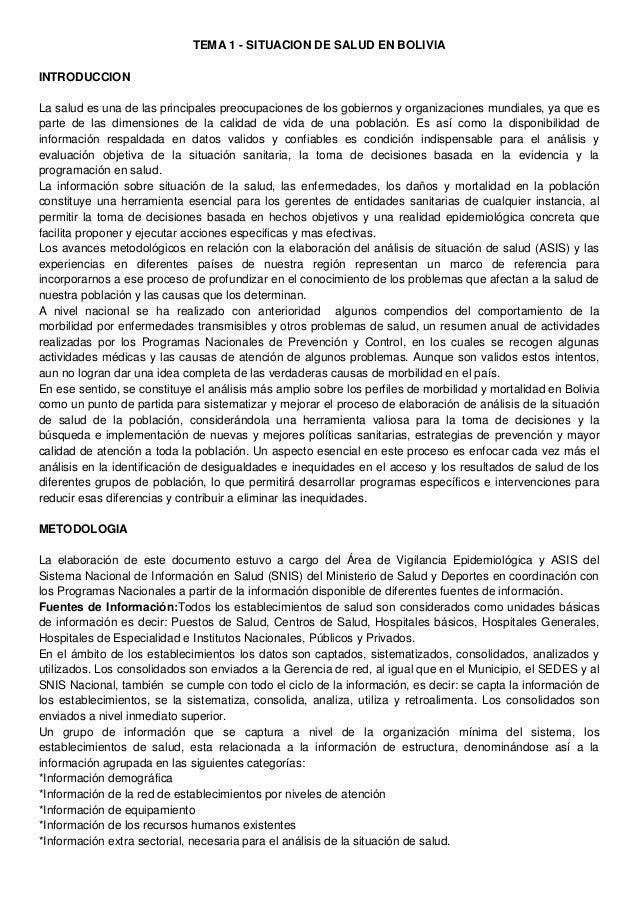 TEMA 1 - SITUACION DE SALUD EN BOLIVIA INTRODUCCION La salud es una de las principales preocupaciones de los gobiernos y o...