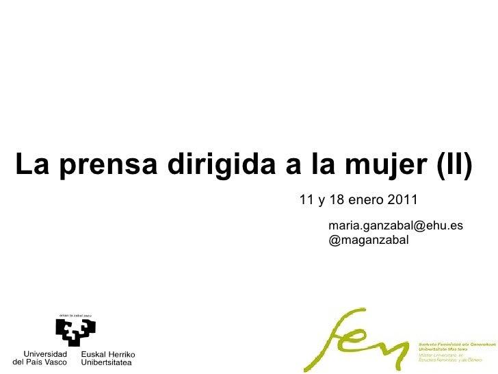 2010-2011. Master Estudios Feministas y de Género. Prensa femenina adolescentes y prensa infantil  (PARTE II)