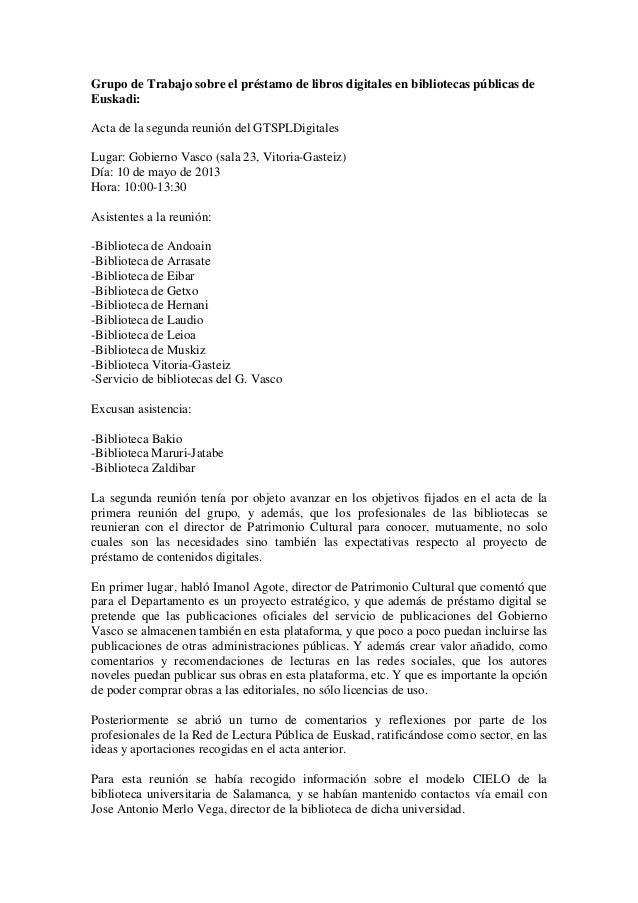 Grupo de Trabajo sobre el préstamo de libros digitales en bibliotecas públicas deEuskadi:Acta de la segunda reunión del GT...