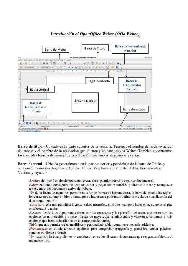 Introducción al OpenOffice Writer (OOo Writer) Barra de título.- Ubicada en la parte superior de la ventana. Tenemos el no...