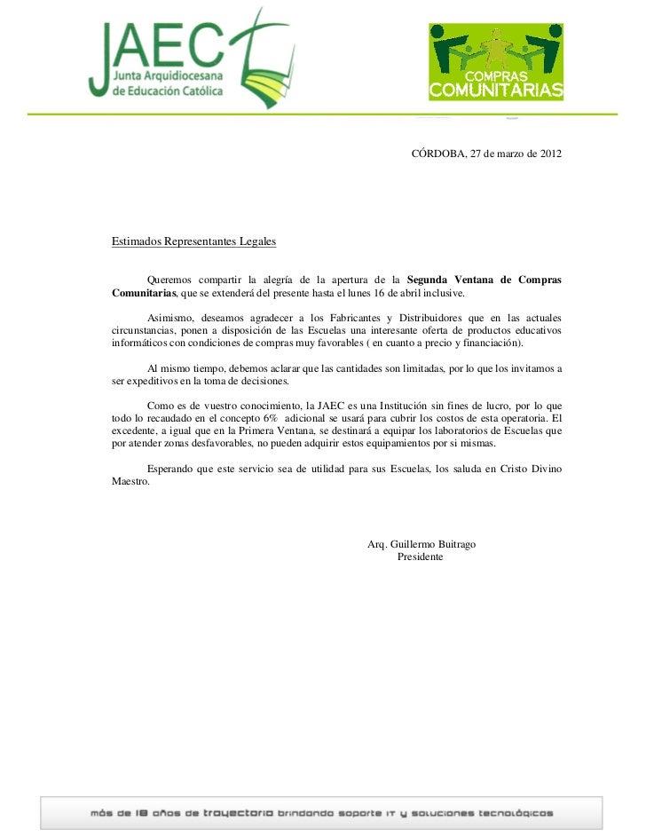 CÓRDOBA, 27 de marzo de 2012Estimados Representantes Legales     Queremos compartir la alegría de la apertura de la Segund...