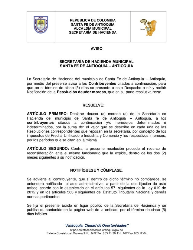 REPUBLICA DE COLOMBIA SANTA FE DE ANTIOQUIA ALCALDÍA MUNICIPAL SECRETARÍA DE HACIENDA  AVISO  SECRETARÍA DE HACIENDA MUNIC...
