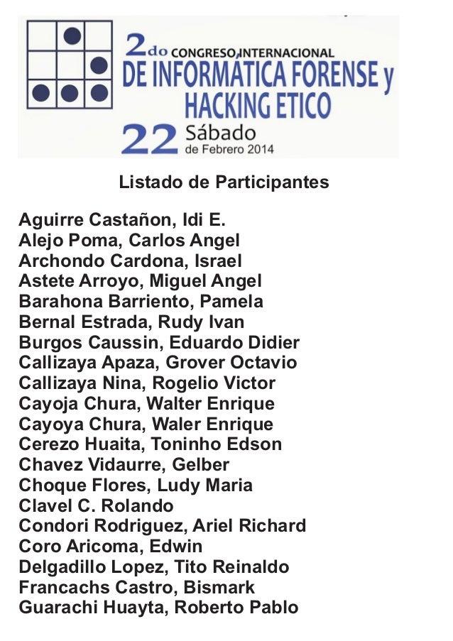 Aguirre Castañon, Idi E. Alejo Poma, Carlos Angel Archondo Cardona, Israel Astete Arroyo, Miguel Angel Barahona Barriento,...