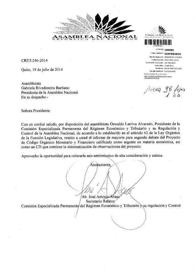Informe para Segundo debate del proyecto de Código Orgánico Monetario y Financiero.