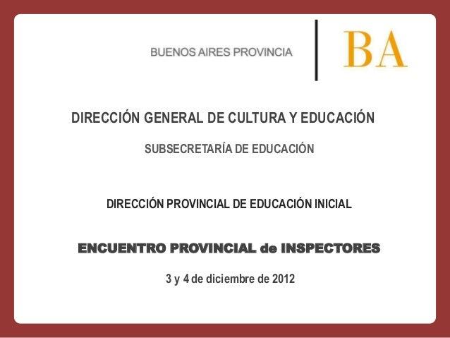 DIRECCIÓN GENERAL DE CULTURA Y EDUCACIÓN SUBSECRETARÍA DE EDUCACIÓN  DIRECCIÓN PROVINCIAL DE EDUCACIÓN INICIAL ENCUENTRO P...