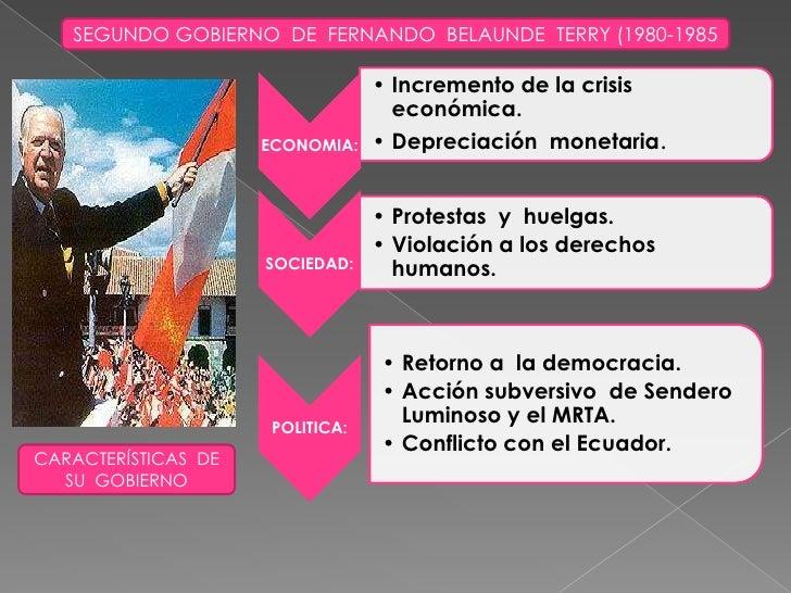 SEGUNDO GOBIERNO  DE  FERNANDO  BELAUNDE  TERRY (1980-1985<br />CARACTERÍSTICAS  DE SU  GOBIERNO<br />