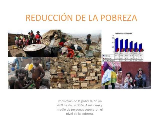 REDUCCIÓN DE LA POBREZA Reducción de la pobreza de un 48% hasta un 30 %, 4 millones y medio de personas superaron el nivel...