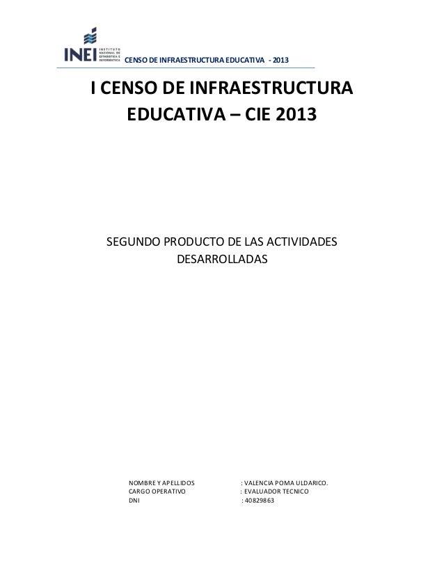 CENSO DE INFRAESTRUCTURA EDUCATIVA - 2013 I CENSO DE INFRAESTRUCTURA EDUCATIVA – CIE 2013 SEGUNDO PRODUCTO DE LAS ACTIVIDA...