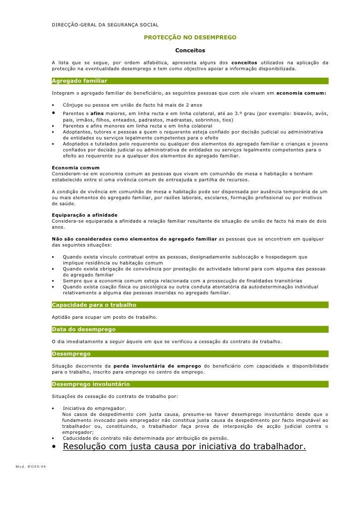 DIRECÇÃO-GERAL DA SEGURANÇA SOCIAL                                                    PROTECÇÃO NO DESEMPREGO             ...