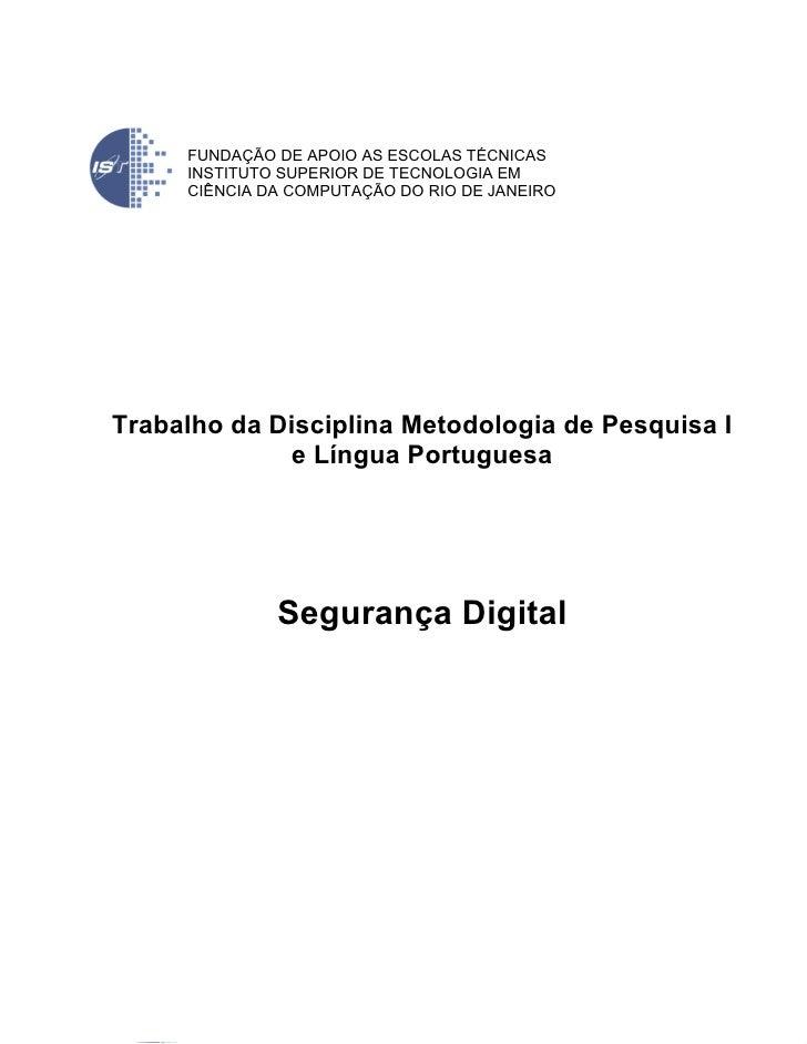 Faculdade: Trabalho sobre Seguranca Digital (Versão em PDF)
