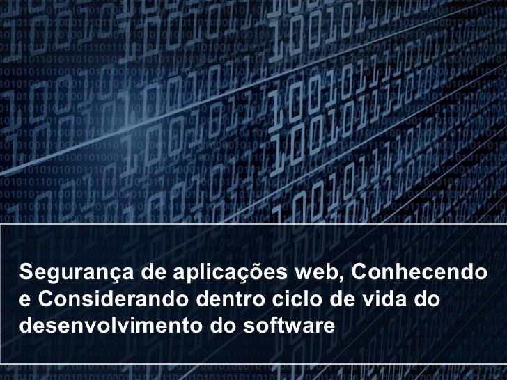 Seguranca web testday2012