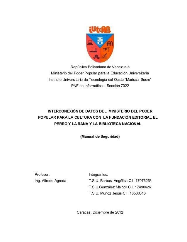 República Bolivariana de Venezuela            Ministerio del Poder Popular para la Educación Universitaria        Institut...