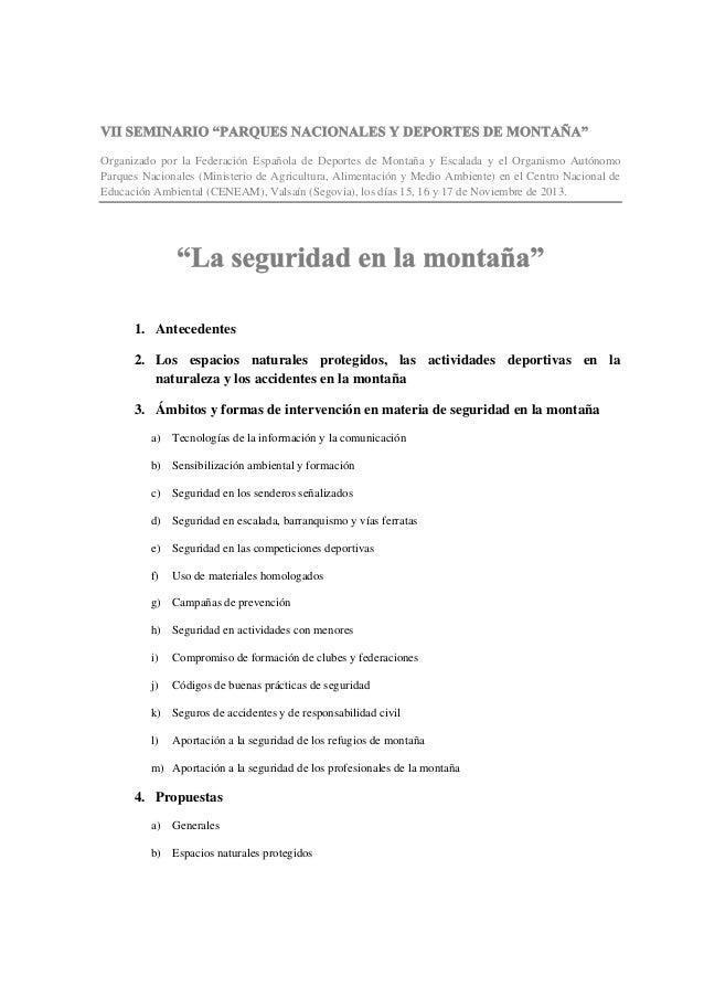 """""""Seguridad en montaña"""" Parques Nacionales y Deporte"""