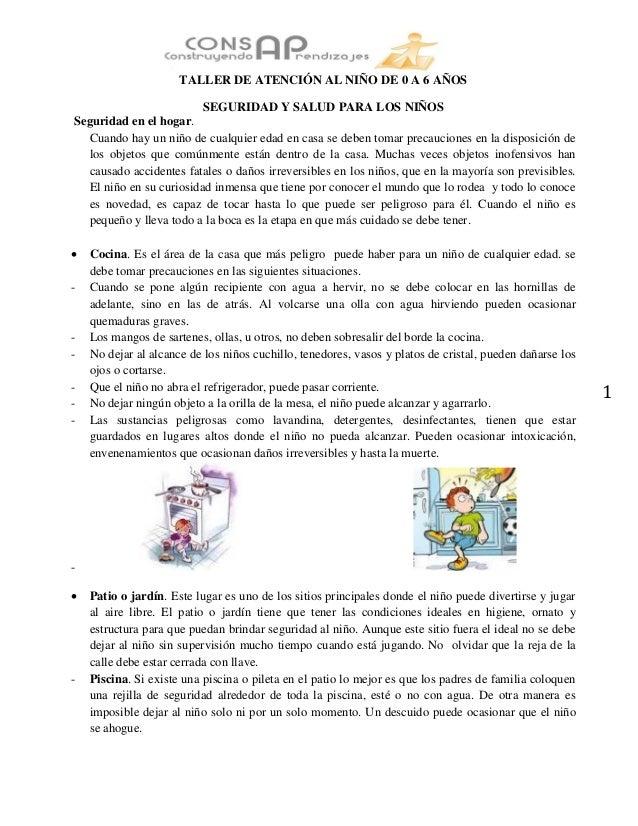 Seguridad salud de niños 0 - 6 años