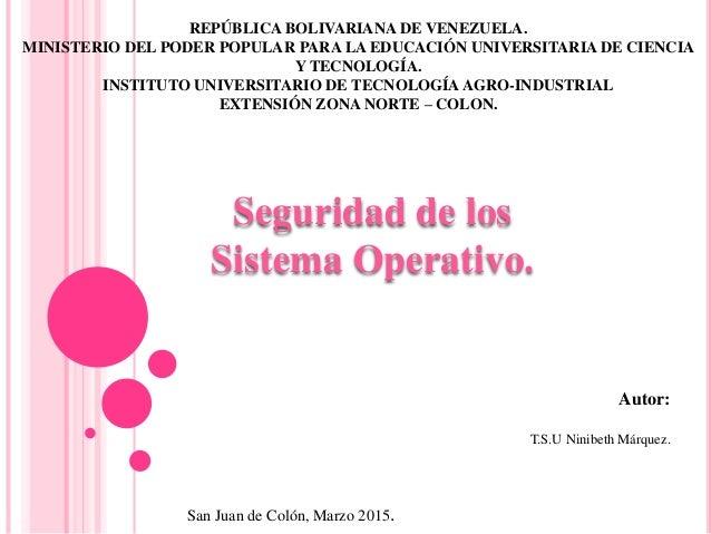 REPÚBLICA BOLIVARIANA DE VENEZUELA. MINISTERIO DEL PODER POPULAR PARA LA EDUCACIÓN UNIVERSITARIA DE CIENCIA Y TECNOLOGÍA. ...