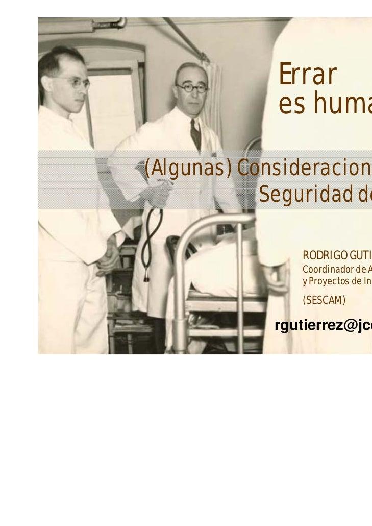 Seguridad del Paciente. Clase enfermería familiar y comunitaria